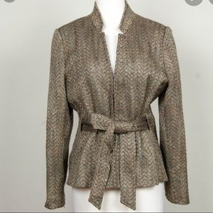 Oscar de la Renta Brown Tweed Belt Jacket Size 12